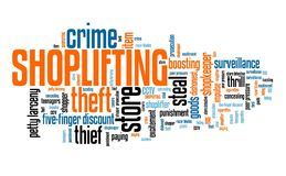 Store theft. Shoplifting - store theft retail industry crime problem. Word cloud sign Stock Image