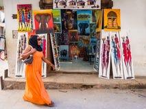 Store with tinga tinga paintings in Stone Town, Zanzibar Royalty Free Stock Photography