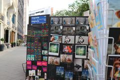 Store with tourist postcards and souvenirs stock images