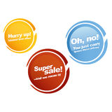 Store vector labels in english Stock Image