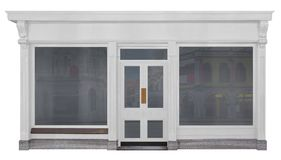 Store with white painted front of wood isolated on white background. Store with two windows and a entrance with white painted front of wood isolated on a white stock images