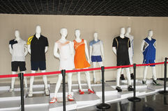 Store window. Sports clothing in the show window royalty free stock photos