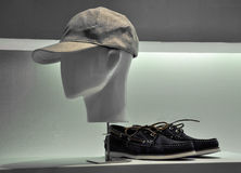 Store window with shoes and hat Stock Photos