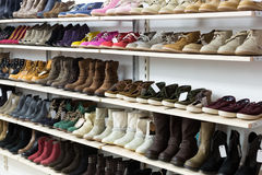 Store with wintry  shoes Stock Photography