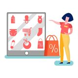 Store Worker Promoting Goods Vector Illustration. Merchandiser Pointing on Products Assortment. Sales Assistant Offers Newborn Basics Goods. Woman Presenting stock illustration