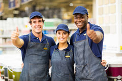 Store workers thumbs up Stock Image