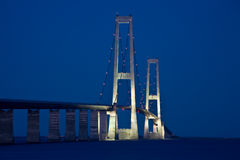 Storebælt. Night photo of the Great Belt bridge denmark Royalty Free Stock Images