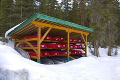 Stored Canoes Stock Images