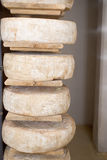 Stored cheese. Cheeses stored on wooden shelves Stock Image
