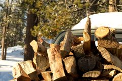 Stored Firewood, Climate Change at Southern California, Big Bear Royalty Free Stock Photos