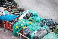 Stored fishing nets Stock Photo