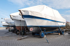Stored motorboats. Onshore stored group of motorboats Royalty Free Stock Photo