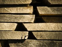 Stored old wooden boards Royalty Free Stock Images