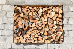 Stored pieces of wood on a window Stock Images