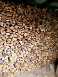 Stored pieces of wood. For winter Royalty Free Stock Photography