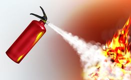 Extinguishing flame with fire extinguisher vector. Stored-pressure, handheld fire extinguisher spraying firefighting agent, suppressing blazing flame realistic royalty free illustration