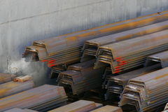 Stored steel. Steel in the hold of a ship Royalty Free Stock Image