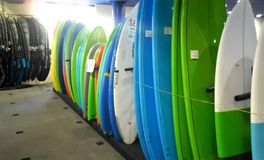 Stored surfboards in Australian shop royalty free stock photography