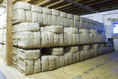 Stored Tobacco. In an old warehouse Stock Photo