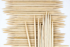 Stored wooden toothpicks Royalty Free Stock Images