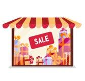 Storefront με τα δώρα για την πώληση στο άσπρο υπόβαθρο πρόσοψη μπουτίκ Προθήκη φωτισμού με Awning, ριγωτή σκηνή Σωροί διανυσματική απεικόνιση