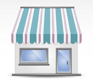 Storefront Awning. Vector illustration of Storefront Awning in blue vector illustration