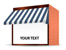 Storefront Awning in blue Royalty Free Stock Photography