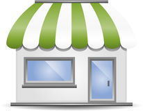 Storefront Awning in Green Stock Photography