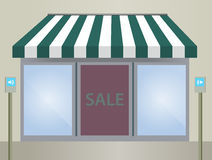 Storefront Awning in green Stock Photos