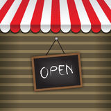 Storefront with awning. And hanging open sign vector Royalty Free Stock Photography