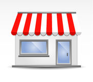 Storefront Awning in Red. Storefront with Awning in Red Royalty Free Stock Images