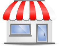 Storefront Awning in Red. Storefront with Awning in Red stock illustration
