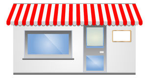 Storefront Awning in red. Vector illustration of Storefront Awning in red Stock Photos