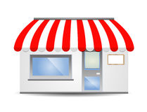 Storefront Awning in red Stock Photography