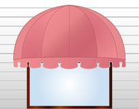 Storefront Awning in reddish pink Stock Photos