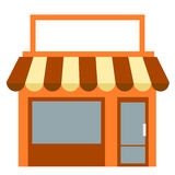 Storefront With Awning. Storefront with striped awning and blank sign banner on roof Royalty Free Illustration