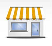 Storefront Awning in Yellow Stock Images