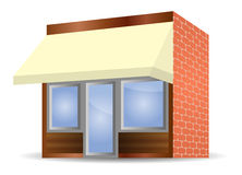Storefront Awning in yellow. Vector illustration of Storefront Awning in yellow Royalty Free Stock Photo