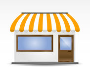 Storefront Awning in yellow Stock Image