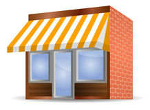 Storefront Awning in yellow Stock Photos