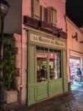 Storefront of bakery La Galette des Moulins at night on Montmartre, Paris, France Royalty Free Stock Image
