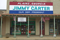 Storefront with banner exclaiming Plains Georgia to be the home of Jimmy Carter, our 39th President in Plains, Georgia Royalty Free Stock Images