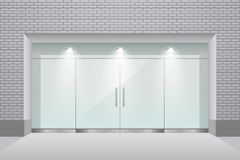 Storefront with brick wall and glass double door. Vector illustration vector illustration