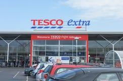 Tesco Extra Supermarket Storefront Stock Photo