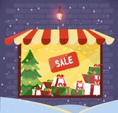 Storefront with Christmas gifts sale at snowy evening. Store facade. Lighting shop window with striped canopy in brick wall. stock illustration