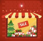Storefront with Christmas gifts sale. Store and storefront window facade. Lighting shop window with sunblind in brick wall. Stacks stock illustration