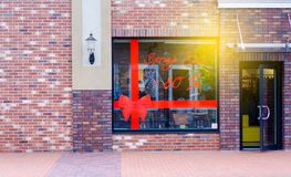 Storefront entrance to the store discounts stock images