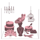 Storefront fashion shop with women accessory. Hand drawing illustration Stock Photos