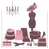 Storefront fashion shop with women accessory. Royalty Free Stock Photo
