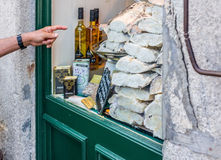 Storefront full of raw, dried and salted cod. Stock Photo